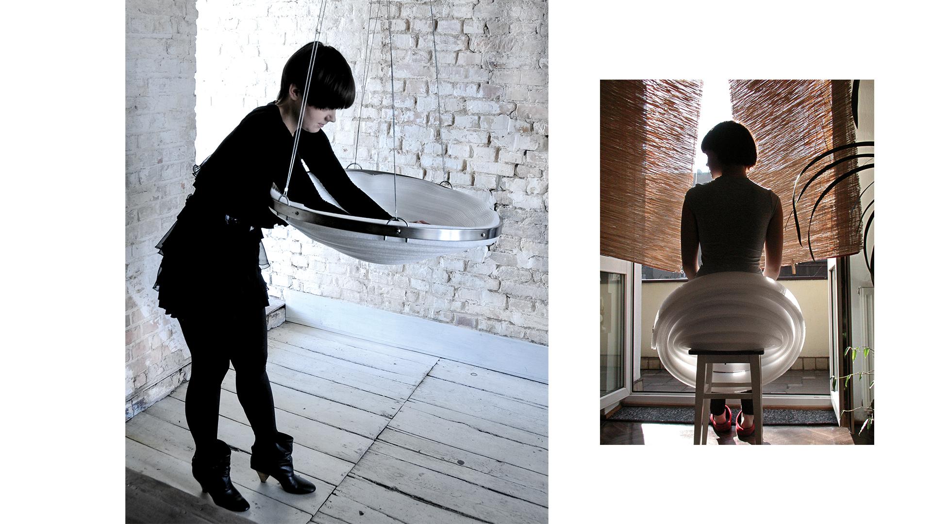 Po lewej: chuśtawka <em>Cebula</em>, po prawej – szybki szkic 3D pierwszej idei <i>Cebuli</i>