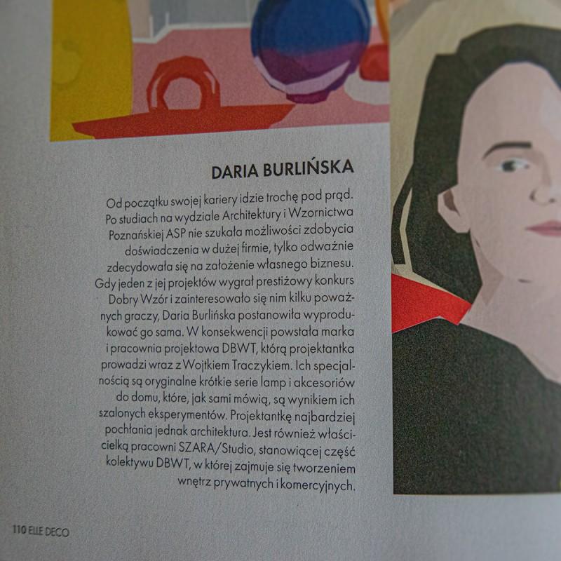 Daria Burlińska, założycielka pracowni DBWT.PL oraz SZARA-STUDIO.PL, na łamach magazynu «Elle Decoration», 11-12/2020
